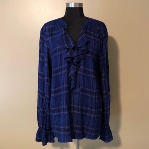 Sanctuary ruffle-front plaid long sleeve shirt